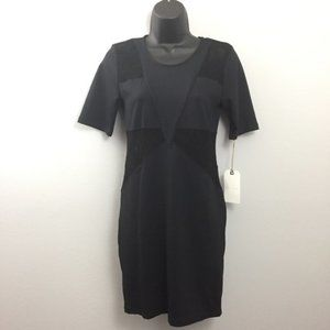 Leith Little Black Dress with Lace Panel Cutouts